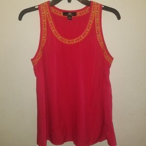 Pink Colorful Stitched Tank Top